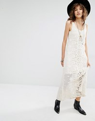 Mango Premium Lace Maxi Dress With Low Back Cream
