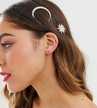 Accessorize Exclusive 2 Multipack Crystal Moon And Shooting Star Hair Slides Gold