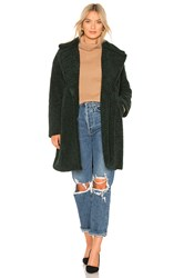 Kendall Kylie Single Breasted Teddy Coat Dark Green