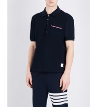 Thom Browne Stripe Detailed Cotton Pique Polo Shirt Navy