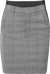 Vetements Checked Cady And Wool Blend Mini Skirt Gray