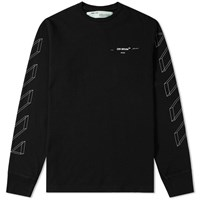 Off White Long Sleeve Diagonal 3D Lines Tee Black