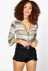 Boohoo Button And Tie Front Woven Crop Salmon
