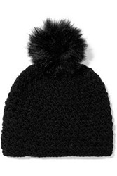 Surell Pompom Embellished Knitted Beanie Black