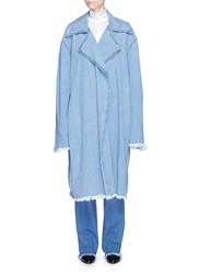 Strateas Carlucci 'Censor Macro Trench' Denim Coat Blue