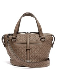 Bottega Veneta Tambura Small Intrecciato Leather Bag Grey