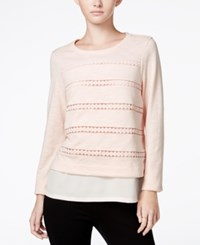 Maison Jules Cutout Layered Look Top Only At Macy's Pearl Blush