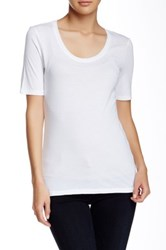 Susina Elbow Length Sleeve Scoop Neck Tee Petite White