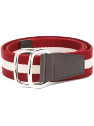 Bally Striped Belt Red