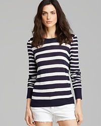 Equipment Sweater Shane Nautical Stripe Crewneck Peacoat Ivory