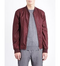 Brunello Cucinelli Faux Leather Bomber Jacket Oxblood
