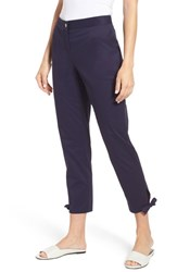 Chaus Bow Hem Twill Ankle Pants Evening Navy