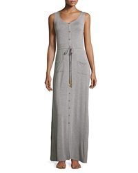 Neiman Marcus Button Front Drawstring Maxi Dress Heather Gray