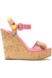 Dolce And Gabbana Printed Patent Leather Platform Wedge Sandals Pink