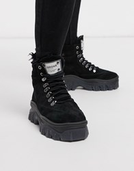 Bronx Leather Chunky Hiker Boot Black