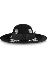 Saint Laurent Wide Brim Studded Rabbit Felt Hat Black