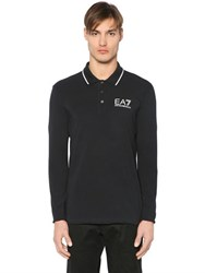 Emporio Armani Logo Cotton Jersey Long Sleeve Polo