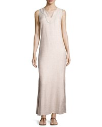 Sail To Sable Shimmery Tweed Sleeveless Maxi Dress Sand Brown