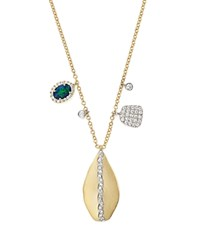 Meira T 14K Yellow And White Gold Teardrop Pendant Necklace With Opal And Diamonds 16 White Gold