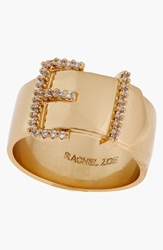 Rachel Zoe 'Sophia' Buckle Ring Clear Gold
