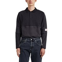 Martine Rose Striped Patchwork Long Sleeve Polo Shirt Gray
