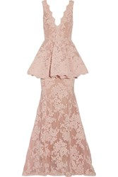 Marchesa Tulle Paneled Guipure Lace Peplum Gown Baby Pink
