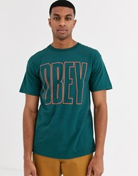 Obey Worldwide Line T Shirt With Large Chest Logo In Green