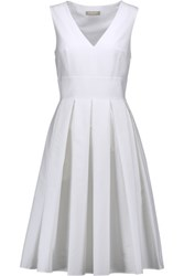Michael Kors Collection Pleated Stretch Cotton Dress White
