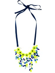 P.A.R.O.S.H. Beaded Flower Necklace Blue