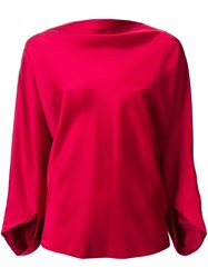 Chalayan Drapey Boat Neck Top Red