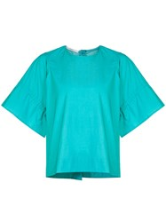 Lareida Wide Ruched Sleeve T Shirt Green