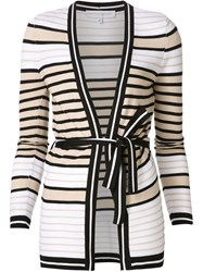 Carolina Herrera Striped Wrap Cardigan White
