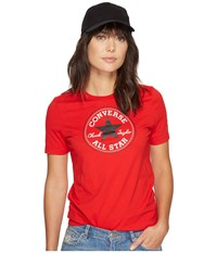 Converse Core Solid Short Sleeve Core Patch Crew Tee Casino Red Women's T Shirt Pink
