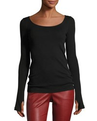 Helmut Lang Long Sleeve Scoop Neck Ballet Tee Black