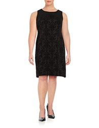 Nipon Boutique Plus Velvet Damask Sheath Dress Black