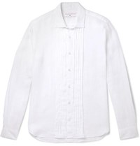 Orlebar Brown 007 On Her Majesty's Service Pleated Linen Shirt White