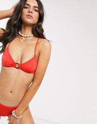 Topshop Textured Bikini Top With Ring Detail In Red