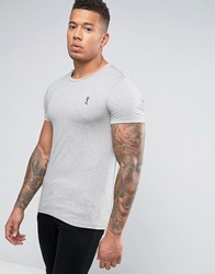 Religion Crew Neck T Shirt In Muscle Fit Grey Marl