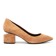 Alexander Wang Women's Simona Suede Block Heeled Court Shoes Clay Tan