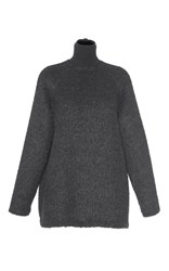 Martin Grant Oversized Mohair Turtleneck Sweater Dark Grey