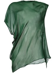 08Sircus Sheer Asymmetric Hem Top Green