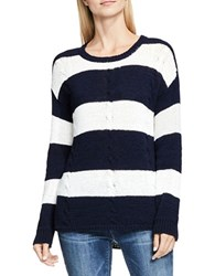 Vince Camuto Striped Cable Stitch Relaxed Pullover Blue