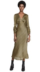 The Fifth Label Goldie Check Long Sleeve Midi Dress Yellow Black