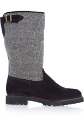 Penelope Chilvers Aspen Herringbone Tweed And Nubuck Boots