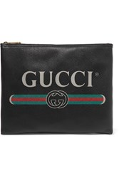 Gucci Printed Textured Leather Pouch Black