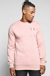 Boohoo Neck Panel Sweater With Zip Detail Pink