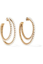Marc Jacobs Gold Plated Faux Pearl Hoop Earrings Gold Cream
