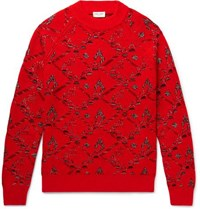 Saint Laurent Wool Blend Jacquard Sweater Red