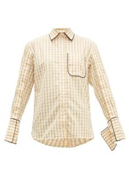 J.W.Anderson Jw Anderson Scarf Collar Gingham Cotton Shirt Brown White