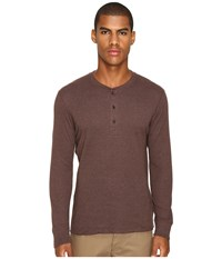 Billy Reid Long Sleeve Harper Henley Coffee Men's T Shirt Brown